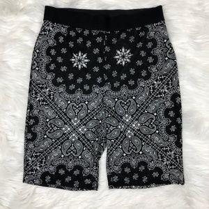 Mesh Paisley Print Biker Shorts